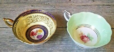 Lot of 2 Vintage Orphan Paragon Teacups Blue with Gold & Green with Pink Rose