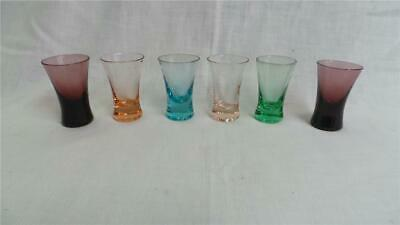 Retro Vintage Bohemia Small Coloured Shot Glasses X 6 Czech Republic