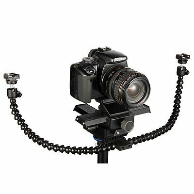 Flexible Dual-arm Dual-shoe Flash Bracket for MACRO SHOT for CANON etc