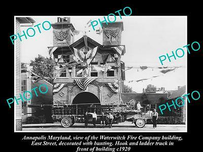 Old Large Historic Photo Of Annapolis Maryland, The Waterwitch Fire Station 1920