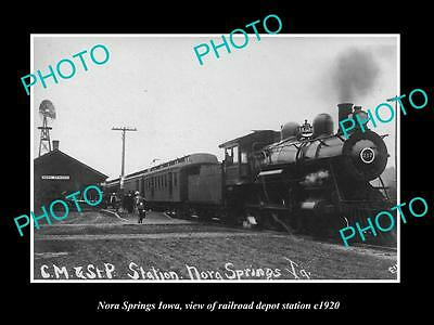 OLD LARGE HISTORIC PHOTO OF NORA SPRINGS IOWA, THE RAILROAD DEPOT STATION c1920