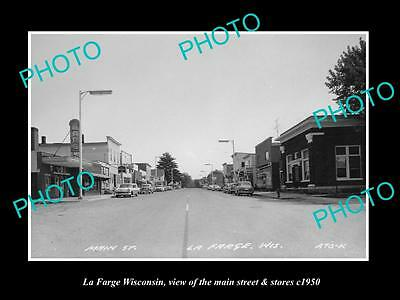 OLD LARGE HISTORIC PHOTO OF LA FARGE WISCONSIN, THE MAIN STREET & STORES c1950