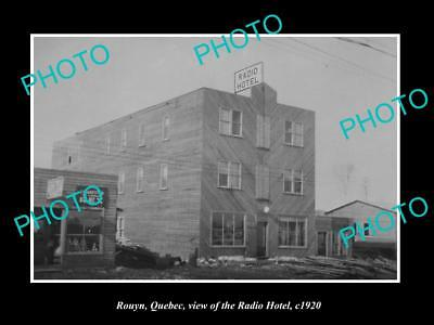 OLD LARGE HISTORIC PHOTO OF ROUYN QUEBEC, VIEW OF THE RADIO HOTEL c1920