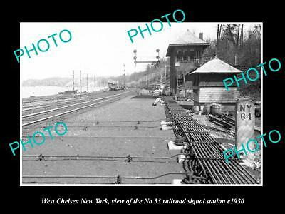 OLD HISTORIC PHOTO OF WEST CHELSEA NEW YORK, No 53 RAILROAD SIGNAL TOWER c1930