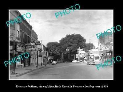 OLD LARGE HISTORIC PHOTO OF SYRACUSE INDIANA, VIEW OF EAST MAIN STREET c1950