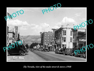 OLD LARGE HISTORIC PHOTO OF ELY NEVADA, VIEW OF THE MAIN STREET & STORES c1940