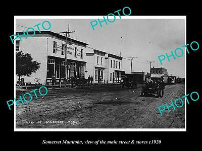 OLD LARGE HISTORIC PHOTO OF SOMERSET MANITOBA, THE MAIN STREET & STORES c1920