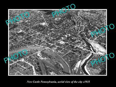 OLD LARGE HISTORIC PHOTO OF NEW CASTLE PENNSYLVANIA, AERIAL VIEW OF CITY c1935 2