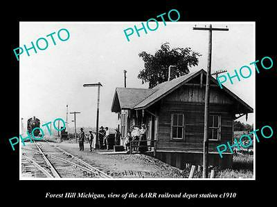 OLD LARGE HISTORIC PHOTO OF FOREST HILL MICHIGAN, THE RAILROAD STATION c1920