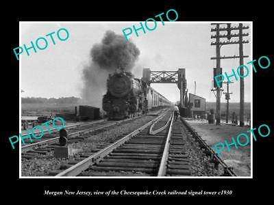 OLD HISTORIC PHOTO OF MORGAN NEW JERSEY, THE C/C RAILROAD SIGNAL TOWER c1930
