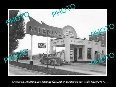 OLD LARGE HISTORIC PHOTO OF LEWISTOWN MONTANA, THE LITENING GAS STATION c1940