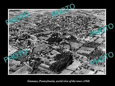 OLD LARGE HISTORIC PHOTO OF EMMAUS PENNSYLVANIA, AERIAL VIEW OF THE TOWN c1940