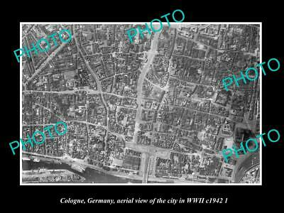 Old Large Historic Military Photo Cologne Germany, City Aerial View Wwii 1942