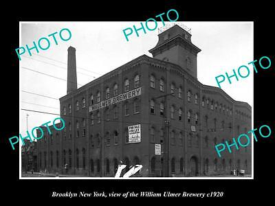 OLD LARGE HISTORIC PHOTO OF BROOKLYN NEW YORK, THE ULMER BEER BREWERY c1920