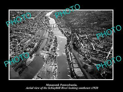 OLD LARGE HISTORIC PHOTO OF MANAYUNK PENNSYLVANIA, AERIAL VIEW OF THE TOWN c1920