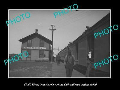 OLD LARGE HISTORIC PHOTO OF CHALK RIVER ONTARIO, THE CPR RAILROAD STATION c1900