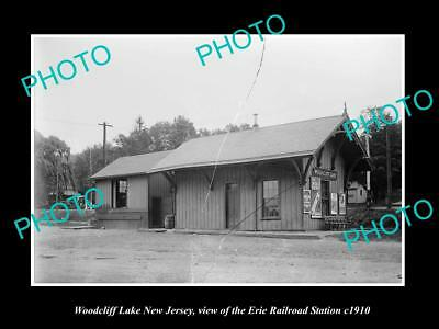 OLD LARGE HISTORIC PHOTO OF WOODCLIFF NEW JERSEY, ERIE RAILROAD STATION c1910