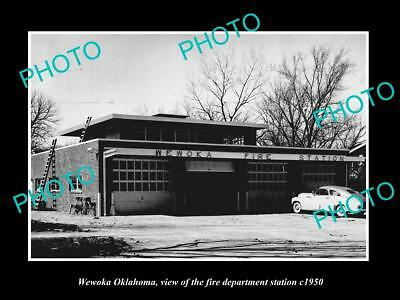 OLD LARGE HISTORIC PHOTO OF WEWOKA OKLAHOMA, THE FIRE DEPARTMENT STATION c1950