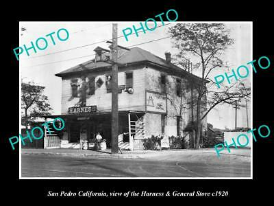 OLD LARGE HISTORIC PHOTO OF SAN PEDRO CALIFORNIA, THE HARNESS & G/STORE c1920