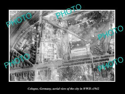 Old Large Historic Military Photo Cologne Germany, Aerial View Of City Wwii 1942
