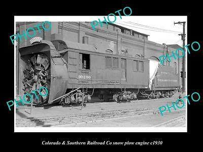 OLD LARGE HISTORIC PHOTO OF COLORADO SOUTH RAILROAD Co SNOW PLOW ENGINE c1930