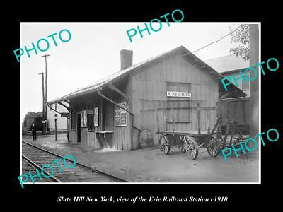 OLD LARGE HISTORIC PHOTO OF SLATE HILL NEW YORK, ERIE RAILROAD STATION c1910