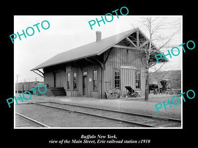 Old Large Historic Photo Of Buffalo New York, Main St Erie Railroad Station 1910
