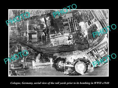OLD LARGE HISTORIC MILITARY PHOTO COLOGNE GERMANY, AERIAL VIEW BOMBING c1940
