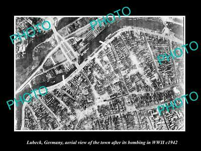 OLD LARGE HISTORIC MILITARY PHOTO LUBECK GERMANY, AERIAL VIEW WWII BOMBING c1942