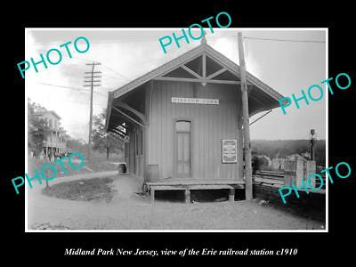 Old Large Historic Photo Of Midland Park New Jersey Erie Railroad Station 1910 1