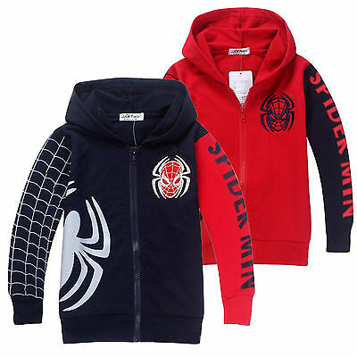 Kids Boys Spiderman Sweatshirt Hoodies Hooded Jacket Coat Tops Outwear Age 1-9Y