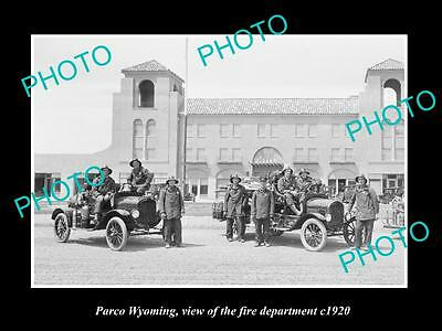 OLD LARGE HISTORIC PHOTO OF PARCO WYOMING, THE FIRE DEPARTMENT TEAM c1920