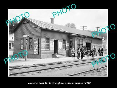 OLD LARGE HISTORIC PHOTO OF HANKINS NEW YORK, ERIE RAILROAD STATION c1910