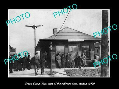 OLD LARGE HISTORIC PHOTO OF GREEN CAMP OHIO, THE RAILROAD DEPOT STATION c1920