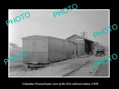 OLD LARGE HISTORIC PHOTO OF COLUMBUS PENNSYLVANIA, ERIE RAILROAD STATION c1910 1