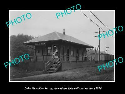OLD LARGE HISTORIC PHOTO OF LAKE VIEW NEW JERSEY, ERIE RAILROAD STATION c1910 1