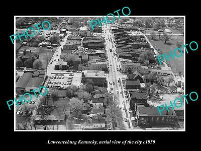 OLD LARGE HISTORIC PHOTO OF LAWRENCEBURG KENTUCKY, AERIAL VIEW OF THE CITY c1950