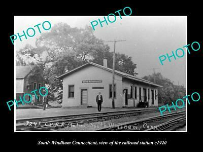 OLD LARGE HISTORIC PHOTO OF SOUTH WINDHAM CONNECTICUT, THE RAILROAD DEPOT c1920