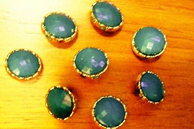 8 jade green multifaceted cabochon buttons/decorated gilded frame 18 mm.