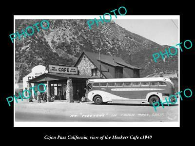 OLD LARGE HISTORIC PHOTO OF CAJON PASS CALIFORNIA, MEEKERS CAFE & GARAGE c1940