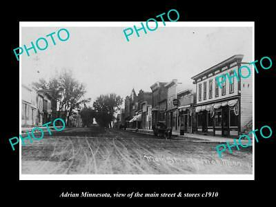 OLD LARGE HISTORIC PHOTO OF ADRIAN MINNESOTA, THE MAIN STREET & STORES c1910