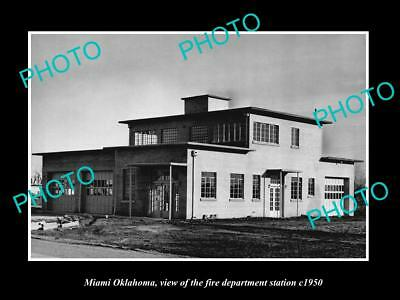 OLD LARGE HISTORIC PHOTO OF MIAMI OKLAHOMA, THE FIRE DEPARTMENT STATION c1950