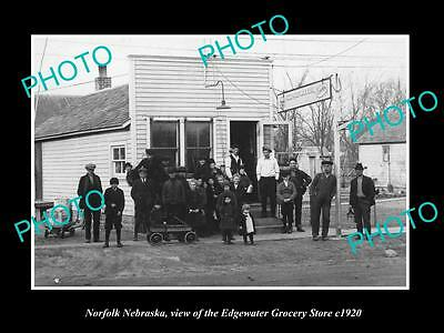 OLD LARGE HISTORIC PHOTO OF NORFOLK NEDBRASKA, THE EDGEWATER GROCERY STORE c1920