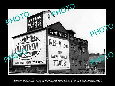 OLD LARGE HISTORIC PHOTO OF WAUSAU WISCONSIN, THE CEREAL MILLS COMPANY c1950