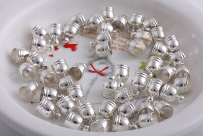 50 pcs Silver Plated Barrel Leather Cord ends Double wire Fringed copper caps