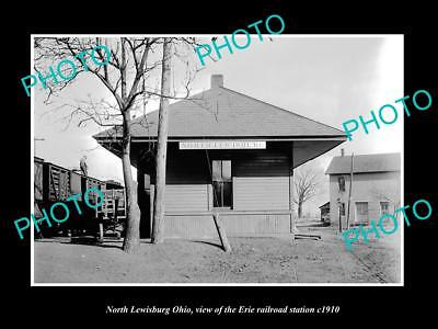 OLD LARGE HISTORIC PHOTO OF NORTH LEWISBURG OHIO, ERIE RAILROAD STATION c1910 2