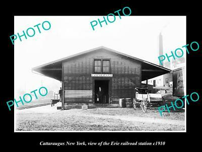 OLD LARGE HISTORIC PHOTO OF CATTARAUGUS NEW YORK, ERIE RAILROAD STATION c1910 2