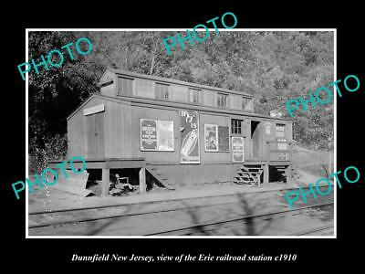 OLD LARGE HISTORIC PHOTO OF DUNNFIELD NEW JERSEY, ERIE RAILROAD STATION c1910