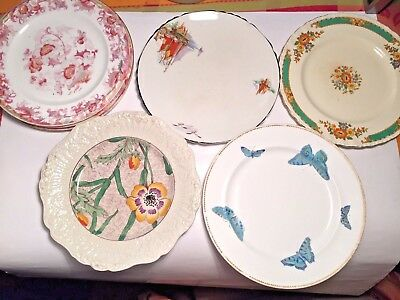 Lot of seven (7) vintage side plates - Cauldron, Chintz, Grindley, PalissyWare