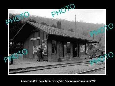 OLD LARGE HISTORIC PHOTO OF CAMERON MILLS NEW YORK, ERIE RAILROAD STATION c1910